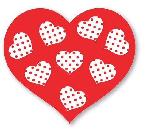 moldes eva coração vermelho