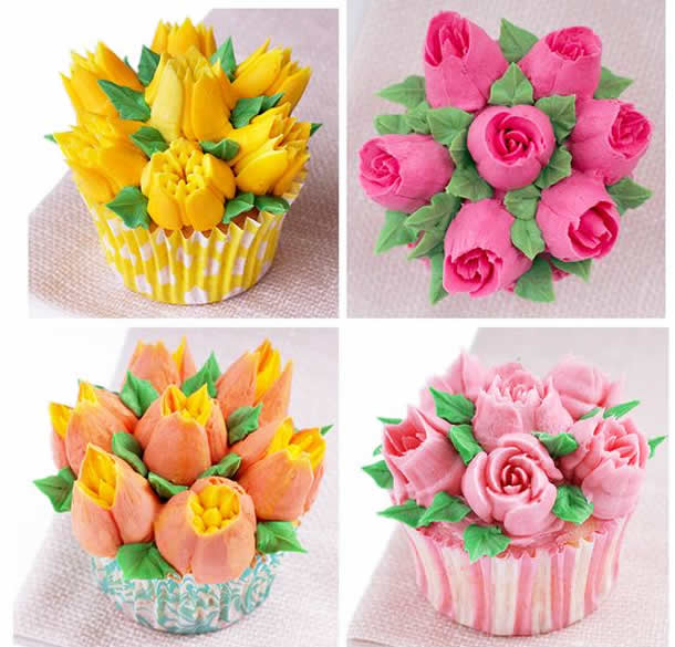 Cupcakes com Rosas de Bicos Russos
