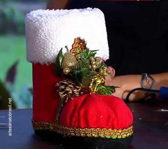 Botas de Natal como garrafas pet - Aprenda!