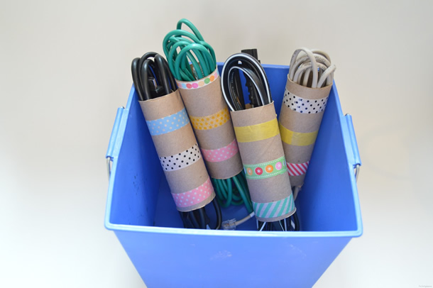 Organizador de Fios com Rolo de Papel Higienico