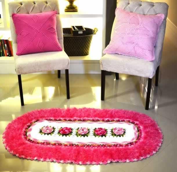Tapetede barbante crochêOval rosa
