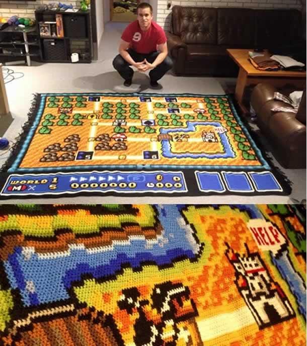 Tapete de crochê Super Mario