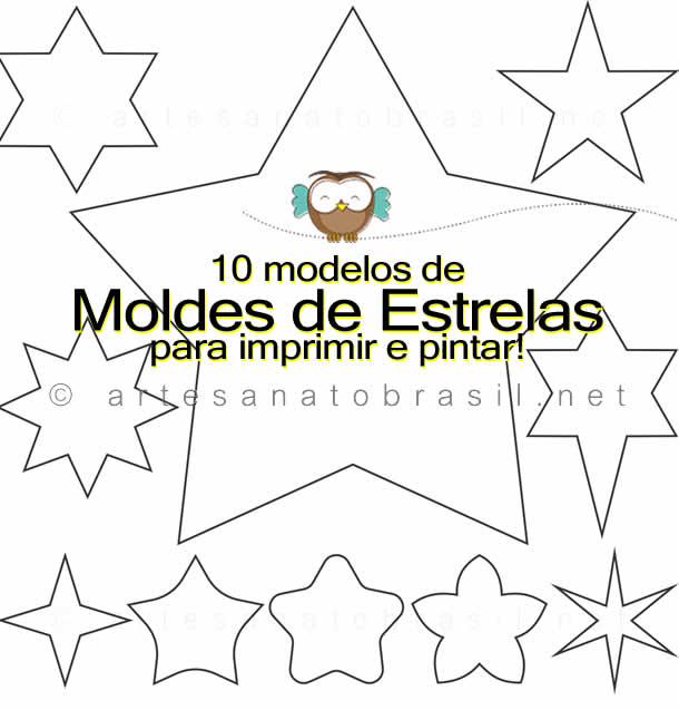 10 Moldes De Estrelas Para Imprimir E Pintar Baixar Em Pdf