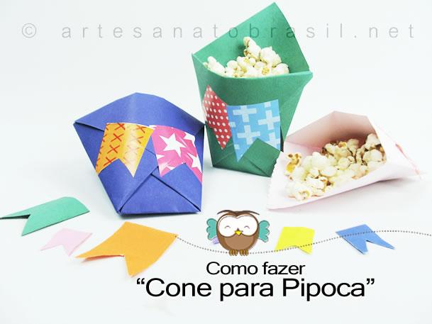 """""""Cone para Pipoca de Papel"""" de Festa Junina Infantil!"""