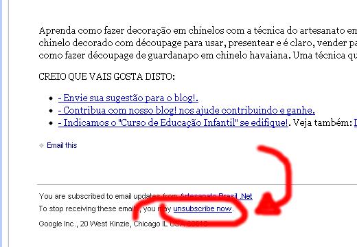Como descadastrar o email da Newsletter