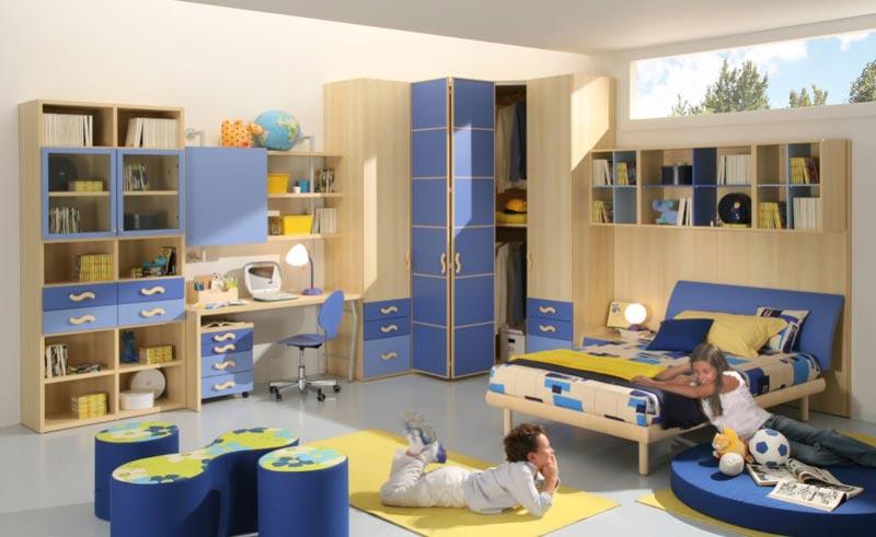 Modelo quarto completo para meninos, cor azul