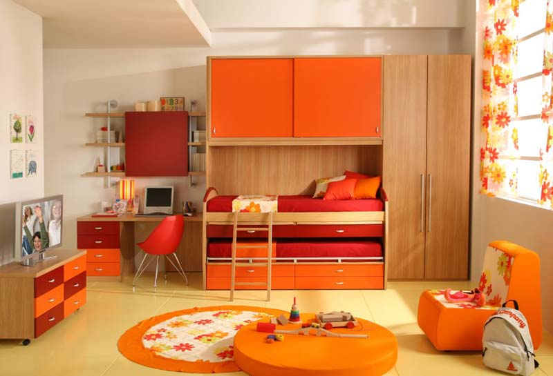 Modelos de quartos abobora, cama dupla