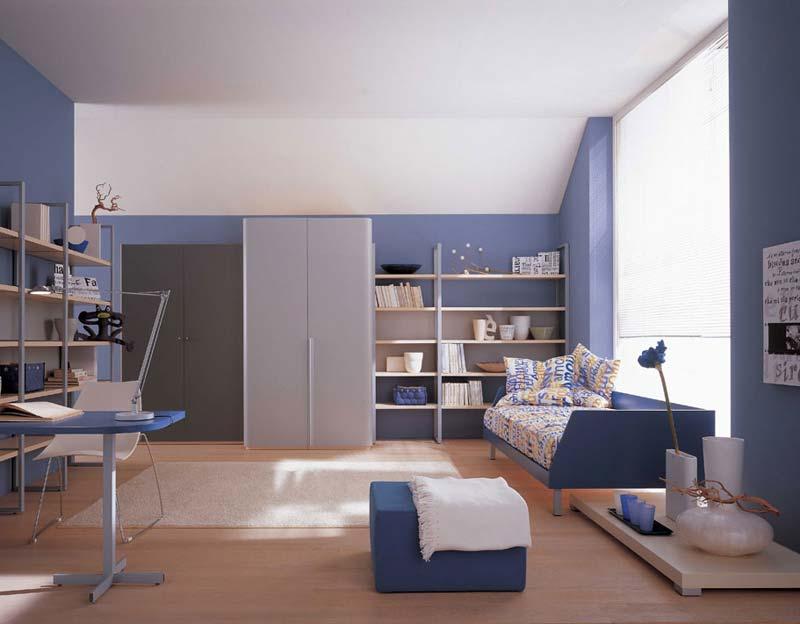 Quarto decorado grande cor azul claro