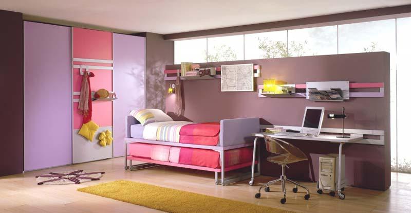 Quarto decorado feminino, cor rosa e lilás