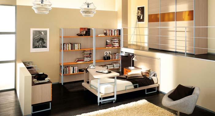 Quarto decorado, ambiente para estudo.
