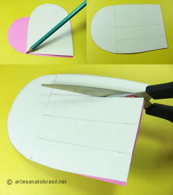 Passo1. cartão coracao com papel reciclado passo a passo