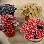 vasinhos flores tecido