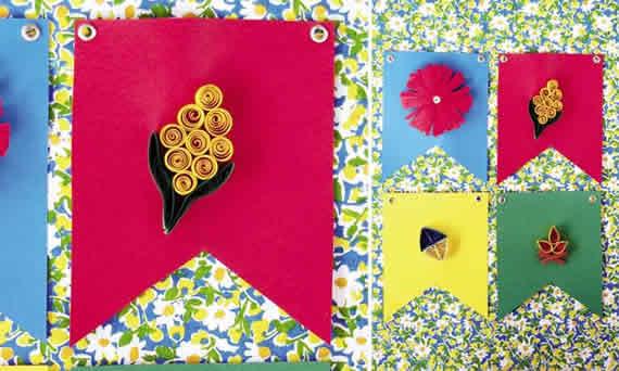 Bandeirinhas de Quilling para Decoração de festa junina