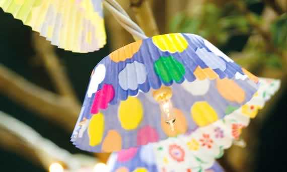 Luminaria-portatil de Pisca-pisca e Forma de Cupcake