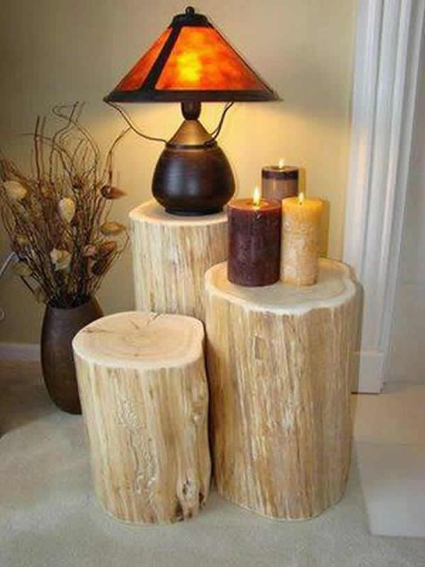 Mesinha com diversos troncos (Artesanato com Reciclagem)