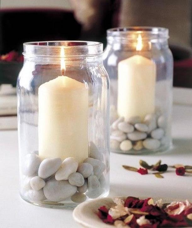 Suporte de velas com potes