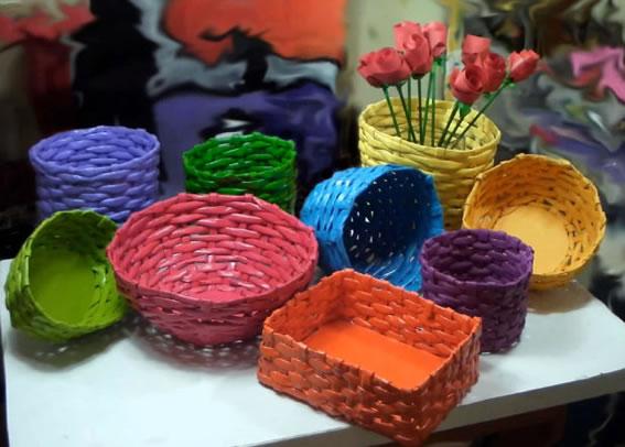 Como fazer cesta com jornal