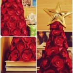Arvore de natal com rosas de cetim