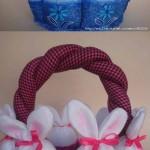 cestinha de coelhos azul e rosa