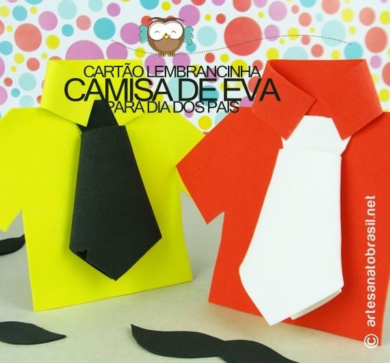 Molde de camisa de EVA para lembrancinha no Dia dos Pais
