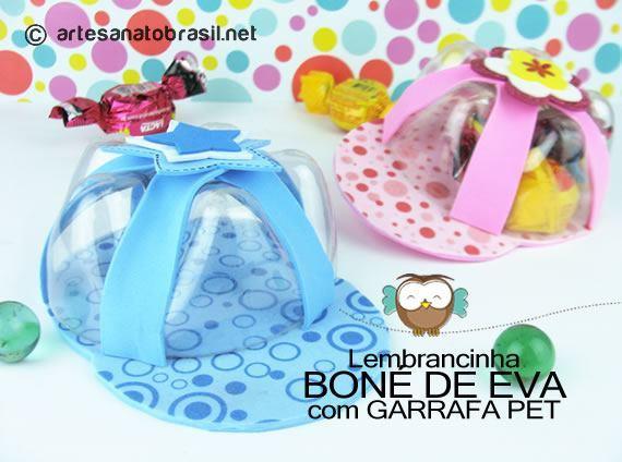 lembrancinha-bone-eva-garrafas-pets_artesanatobrasil
