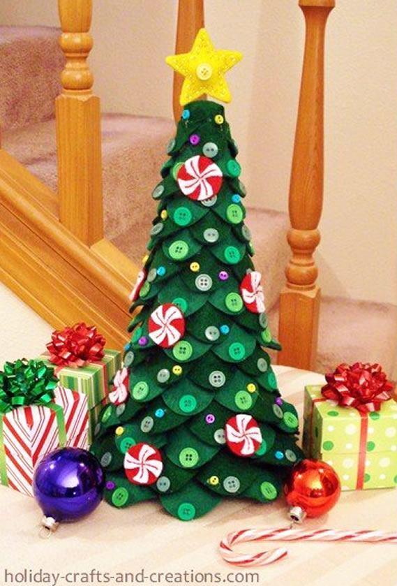 Como fazer um árvore de feltro para decoração de mesa para o natal