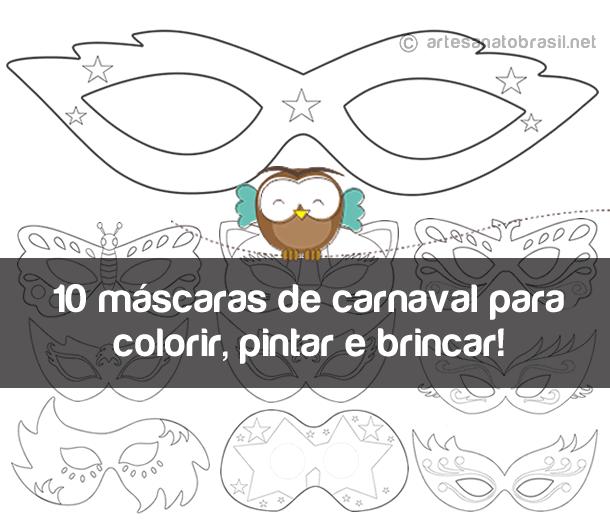 10 máscaras de carnaval para colorir pintar e brincar
