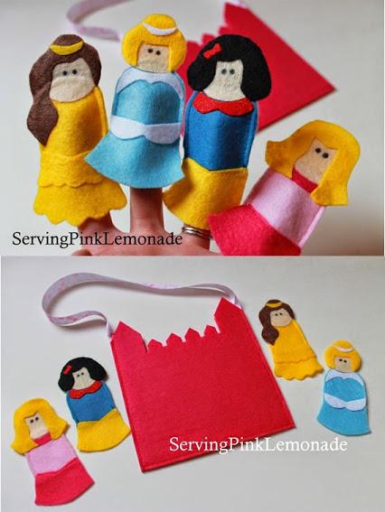 Brinquedos dedoches de feltro