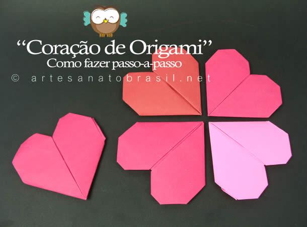 Coração de origami Passo a passo