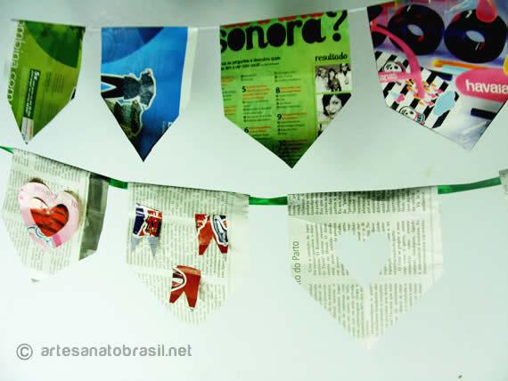 Decoração com material Reciclavel para Festa Junina: Bandeira de Revista e Jornal