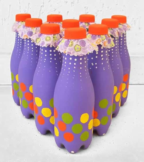 Material Reciclavel para Festa Junina: Boliche de garrafa pet