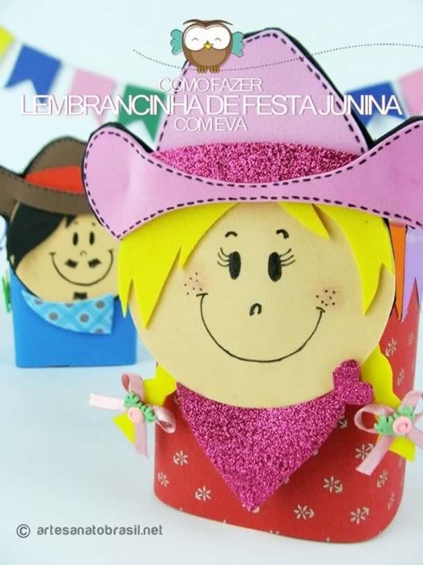Decoração com material Reciclavel para Festa Junina: Lembrancinhas com Caixa de Leite
