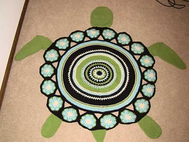 tapete-com-barbante-tartaruga-verde