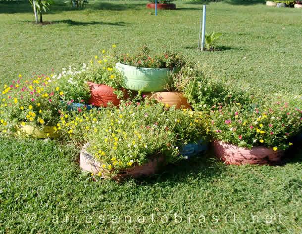 Jardim com Pneus 38 Modelos e Ideias para Decorar em Casa! -> Jardins Decorados Com Pneus