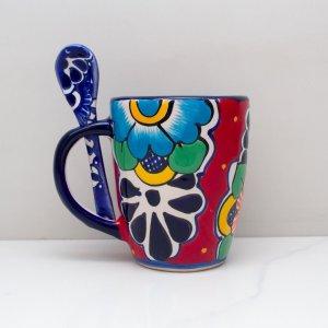 taza de talavera color rojo marca artesano