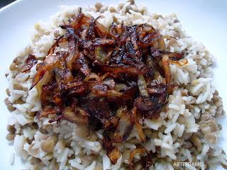 Mjadra – arroz com lentilha