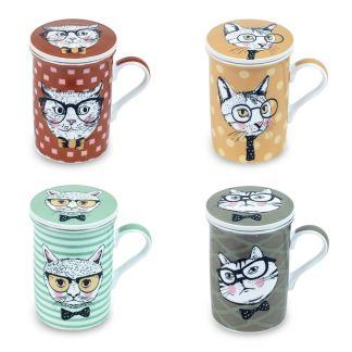 Taza para Té con tapa y filtro Gato