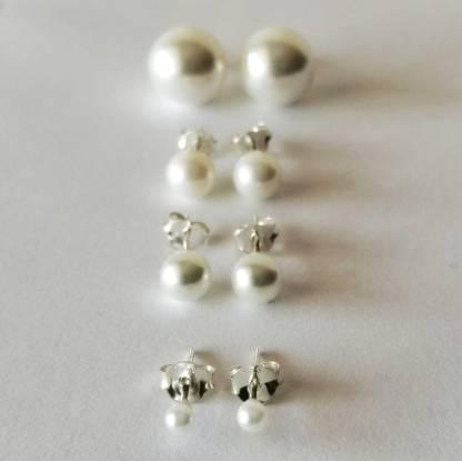 Pendientes de Bolas blancas Perlas Plata