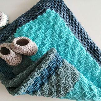 Manta tejida Crochet para bebé colcha hecha a mano