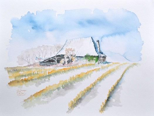 à l'aquarelle, une grande au toit en taule et très pentu au milieu d'un champs de maïs moissonné