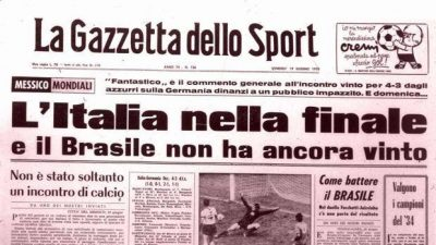 Messico 1970: Italia Germania 4-3, la partita del secolo