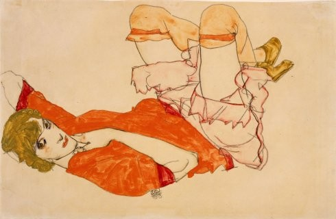 Wally in a Red Blouse Lying on her Back