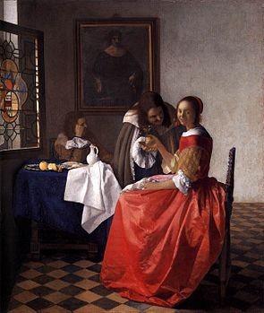 Due gentiluomini e una fanciulla con bicchiere di vino