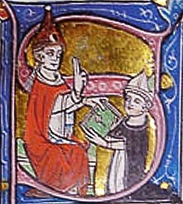 Papa Giovanni XXII e Bernardo Gui miniatura del XIV secolo
