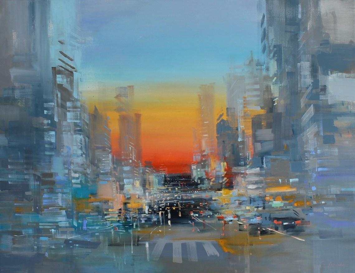 Carlos Azañedo y sus paisajes urbanos abstractos.