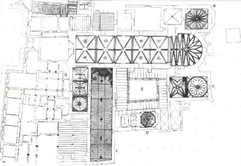 Estructuras de las diferentes cubiertas de la zona monacal del Monasterio de la Cartuja (Fuente: de Morales, en Díaz del Olmo et al, 1989, p. 168)
