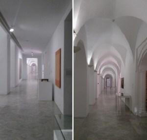 Galerías expositivas en el interior del CAAC. Se pueden observar, a la izquierda de cada imagen, los accesos a las antiguas celdas de los monjes en el claustrón