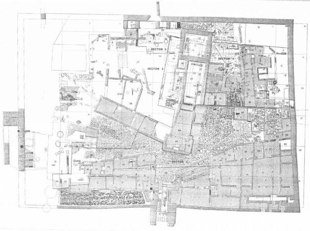 Plano general de estructuras previo a la excavación del Castillo de San Jorge (Fuente: Anuario Arqueológico de Andalucía/1998, p. 813)