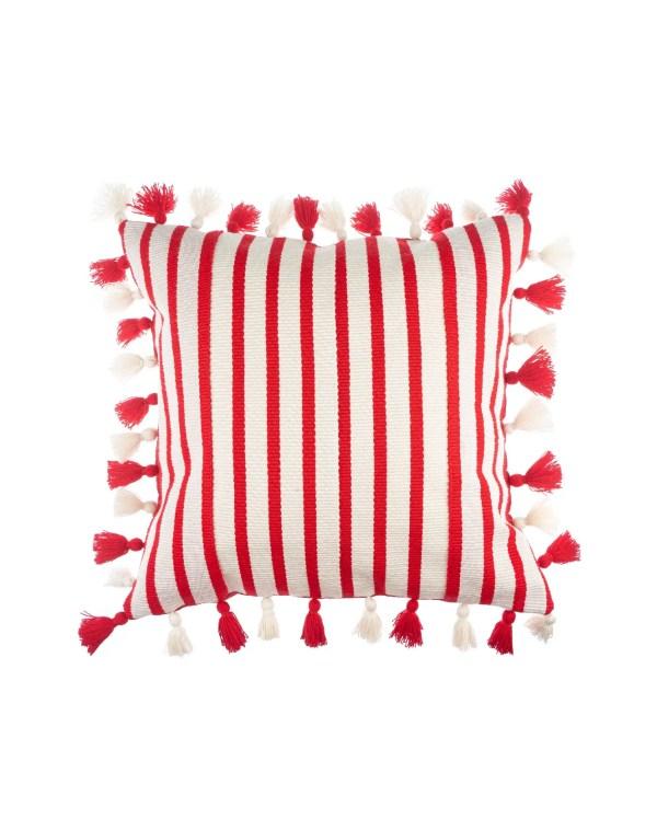 Arte y Tejido, Cojín Agra Rojo, Agra Cushion Red, Chorrera, Cojín, Cushion, Tejido, Knitted, Crochet, Natural Fibers, Algodón, Cotton, Fibras Naturales, Agra, Rojo, Red