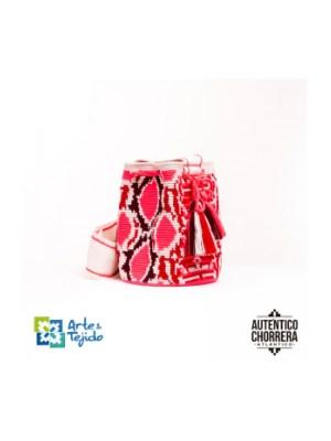 Arte y Tejido, Mochila Coral, Chorrera, Mochila, Tejida, Knitted, Crochet, Natural Fibers, Algodón, Cotton, Fibras Naturales, Bag, Coral